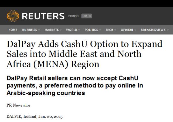 DalPay CashU MENA PR Reuters